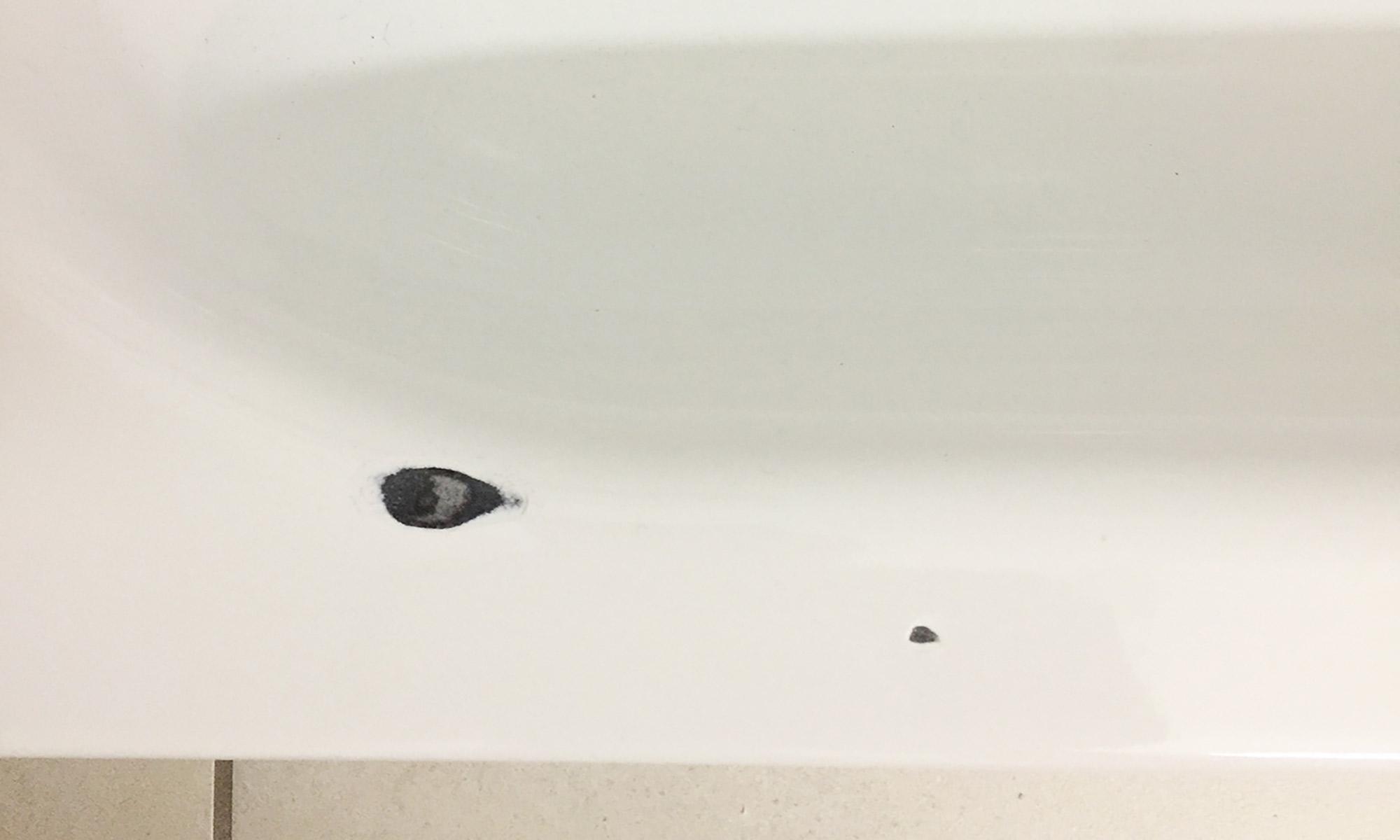 Schlagstelle in Badewanne